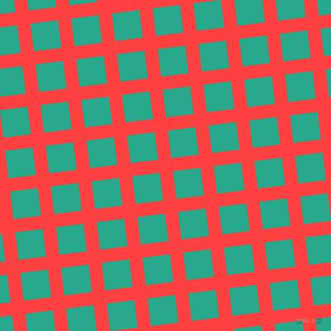 7/97 degree angle diagonal checkered chequered lines, 19 pixel line width, 40 pixel square size, Coral Red and Niagara plaid checkered seamless tileable