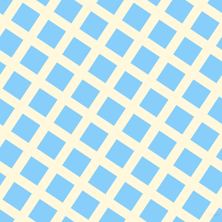 56/146 degree angle diagonal checkered chequered lines, 32 pixel line width, 71 pixel square size, Corn Silk and Light Sky Blue plaid checkered seamless tileable