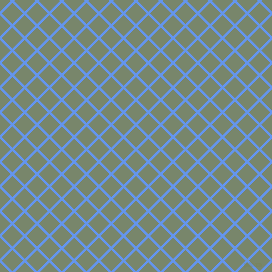 45/135 degree angle diagonal checkered chequered lines, 5 pixel lines width, 31 pixel square size, Cornflower Blue and Camouflage Green plaid checkered seamless tileable