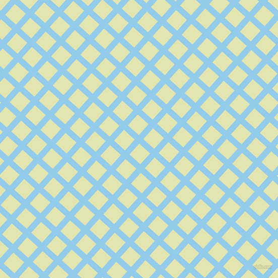 48/138 degree angle diagonal checkered chequered lines, 12 pixel line width, 29 pixel square size, Cornflower and Tusk plaid checkered seamless tileable