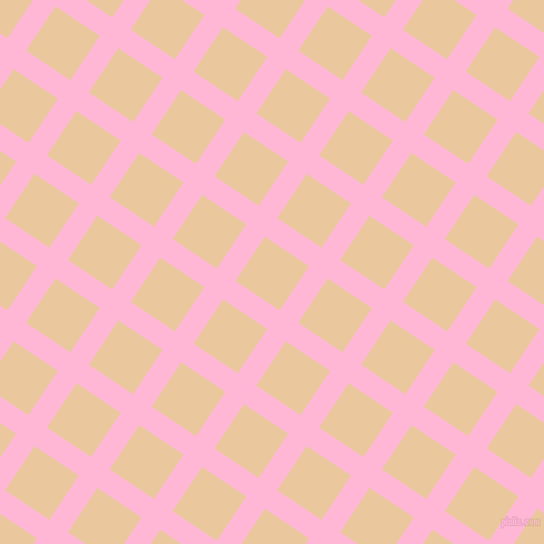 56/146 degree angle diagonal checkered chequered lines, 20 pixel line width, 48 pixel square size, Cotton Candy and New Tan plaid checkered seamless tileable