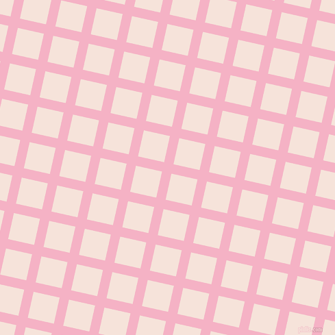 77/167 degree angle diagonal checkered chequered lines, 14 pixel line width, 39 pixel square size, Cupid and Provincial Pink plaid checkered seamless tileable