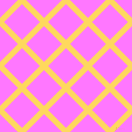 45/135 degree angle diagonal checkered chequered lines, 19 pixel lines width, 84 pixel square size, Dandelion and Fuchsia Pink plaid checkered seamless tileable
