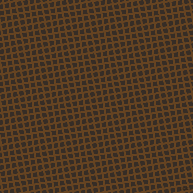9/99 degree angle diagonal checkered chequered lines, 7 pixel line width, 15 pixel square size, Dark Brown and Coffee Bean plaid checkered seamless tileable
