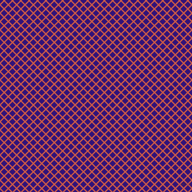 45/135 degree angle diagonal checkered chequered lines, 4 pixel line width, 15 pixel square size, Dark Coral and Persian Indigo plaid checkered seamless tileable