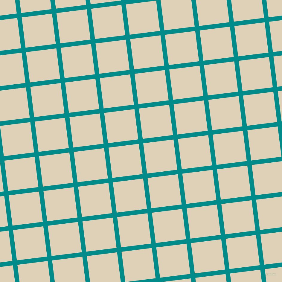 7/97 degree angle diagonal checkered chequered lines, 15 pixel line width, 102 pixel square size, Dark Cyan and Spanish White plaid checkered seamless tileable