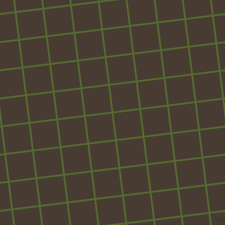 7/97 degree angle diagonal checkered chequered lines, 6 pixel line width, 88 pixel square size, Dark Olive Green and Taupe plaid checkered seamless tileable