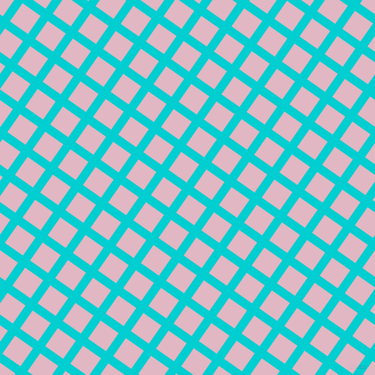 55/145 degree angle diagonal checkered chequered lines, 17 pixel lines width, 43 pixel square size, Dark Turquoise and Melanie plaid checkered seamless tileable