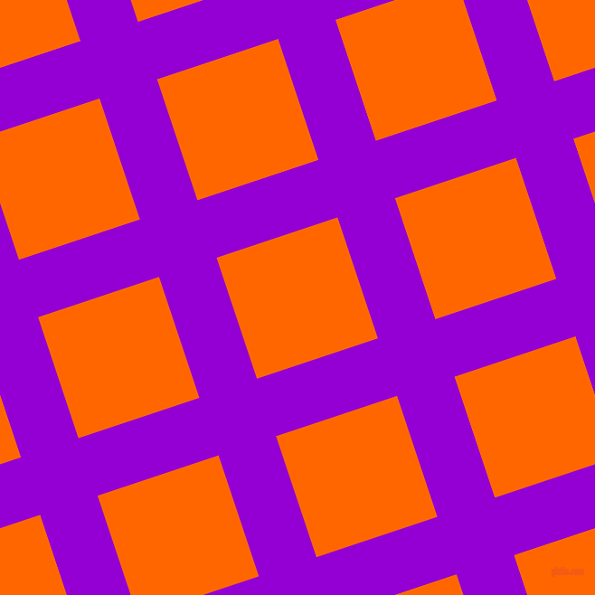 18/108 degree angle diagonal checkered chequered lines, 67 pixel line width, 141 pixel square size, Dark Violet and Safety Orange plaid checkered seamless tileable