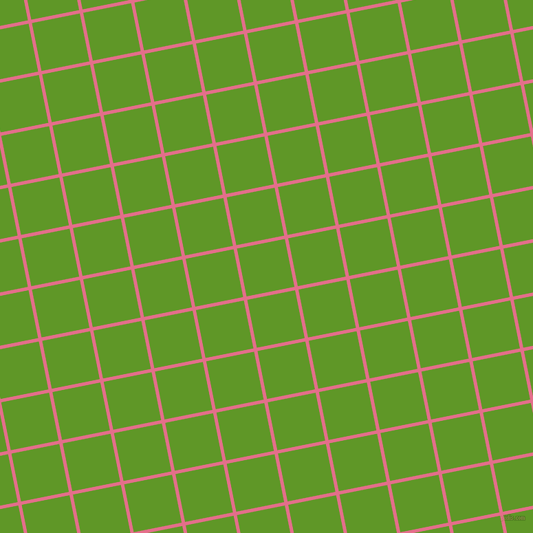 11/101 degree angle diagonal checkered chequered lines, 5 pixel lines width, 71 pixel square size, Deep Blush and Limeade plaid checkered seamless tileable