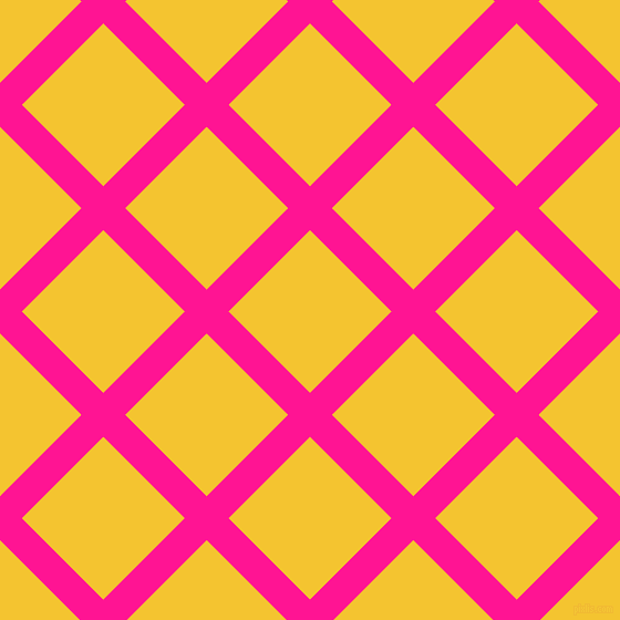 45/135 degree angle diagonal checkered chequered lines, 28 pixel lines width, 104 pixel square size, Deep Pink and Saffron plaid checkered seamless tileable