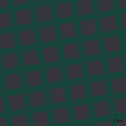9/99 degree angle diagonal checkered chequered lines, 22 pixel lines width, 48 pixel square size, Deep Teal and Revolver plaid checkered seamless tileable