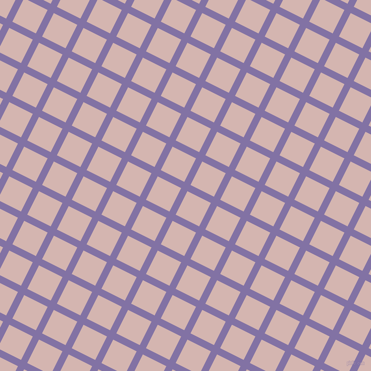 63/153 degree angle diagonal checkered chequered lines, 14 pixel lines width, 53 pixel square size, Deluge and Oyster Pink plaid checkered seamless tileable