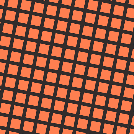 79/169 degree angle diagonal checkered chequered lines, 12 pixel line width, 33 pixel square size, Diesel and Coral plaid checkered seamless tileable