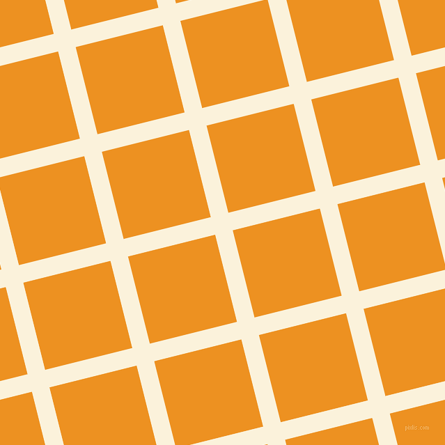 14/104 degree angle diagonal checkered chequered lines, 26 pixel lines width, 129 pixel square size, Early Dawn and Carrot Orange plaid checkered seamless tileable