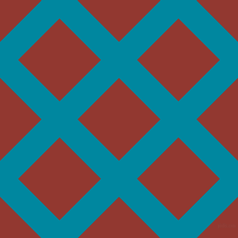 45/135 degree angle diagonal checkered chequered lines, 50 pixel line width, 115 pixel square size, Eastern Blue and Thunderbird plaid checkered seamless tileable