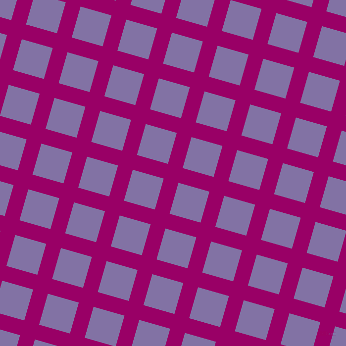 74/164 degree angle diagonal checkered chequered lines, 31 pixel lines width, 65 pixel square size, Eggplant and Deluge plaid checkered seamless tileable