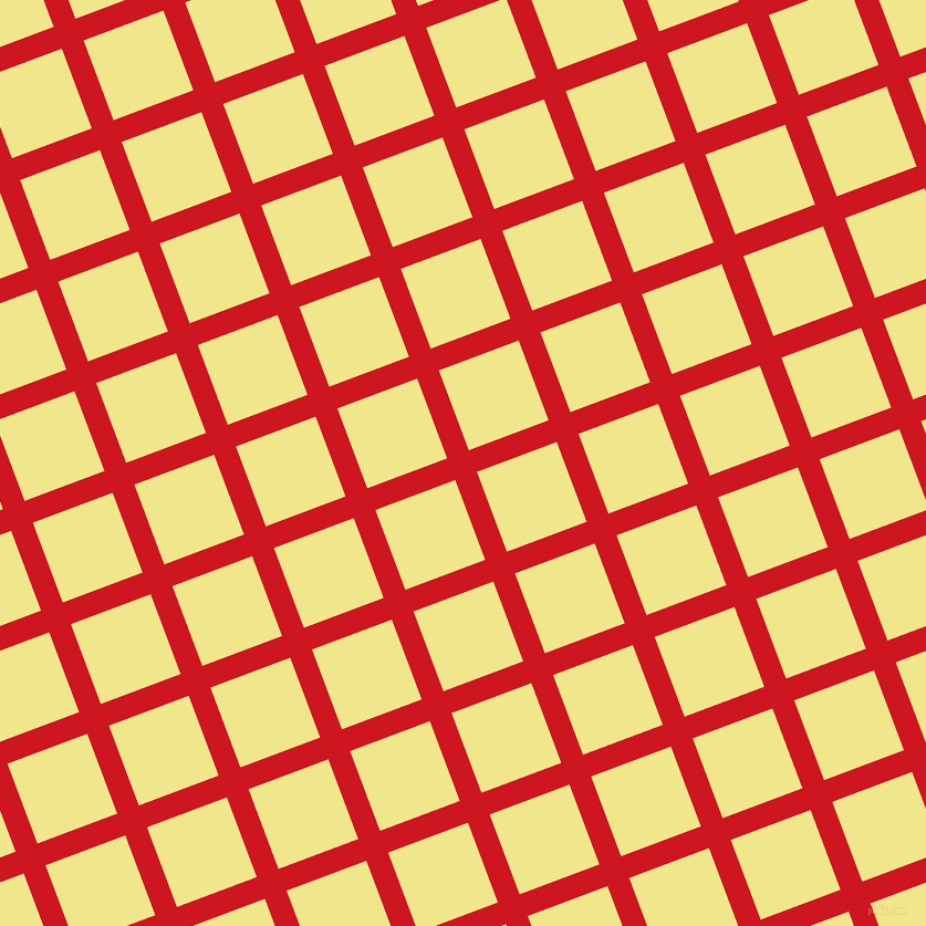 21/111 degree angle diagonal checkered chequered lines, 21 pixel line width, 77 pixel square size, Fire Engine Red and Khaki plaid checkered seamless tileable