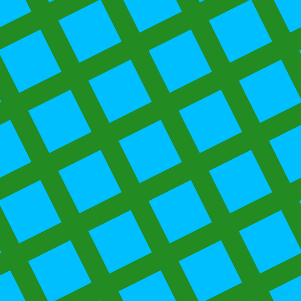27/117 degree angle diagonal checkered chequered lines, 41 pixel line width, 97 pixel square size, Forest Green and Deep Sky Blue plaid checkered seamless tileable