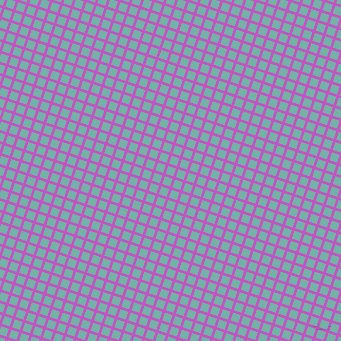 72/162 degree angle diagonal checkered chequered lines, 5 pixel line width, 16 pixel square size, Fuchsia and Gulf Stream plaid checkered seamless tileable