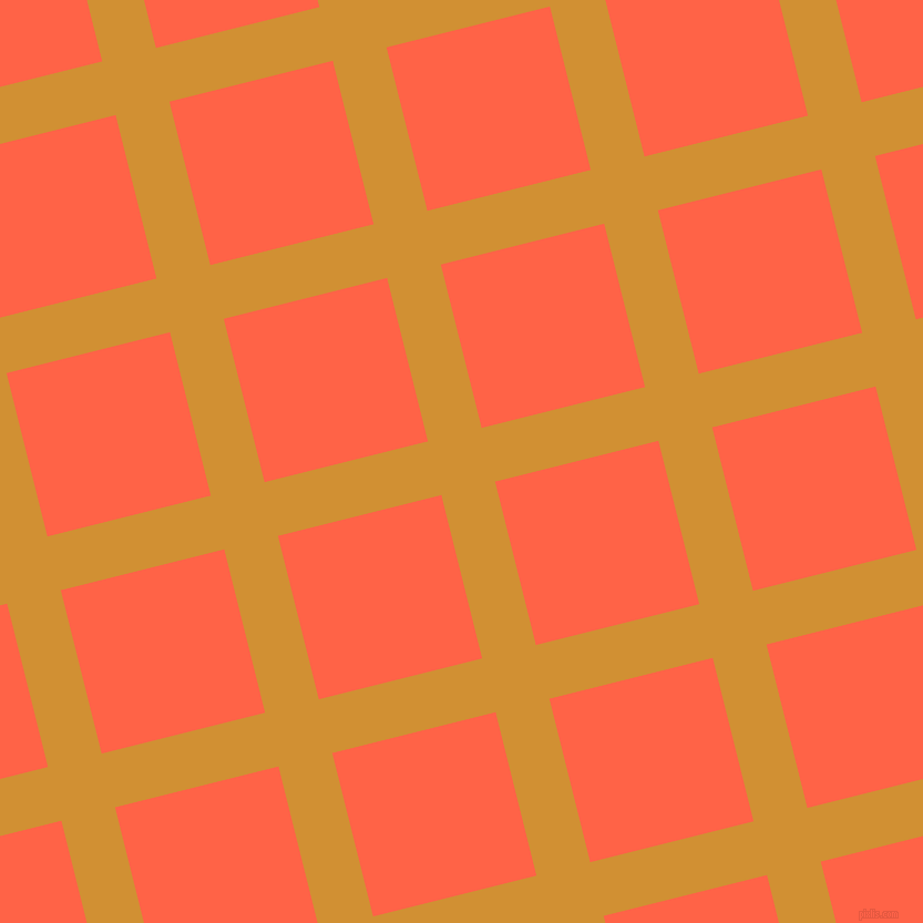 14/104 degree angle diagonal checkered chequered lines, 50 pixel line width, 152 pixel square size, Fuel Yellow and Tomato plaid checkered seamless tileable