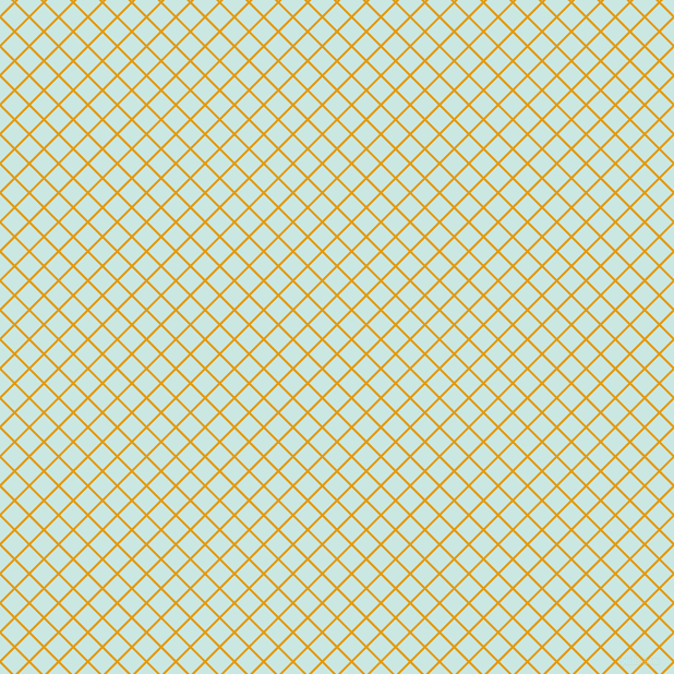 45/135 degree angle diagonal checkered chequered lines, 2 pixel line width, 17 pixel square size, Gamboge and Jagged Ice plaid checkered seamless tileable