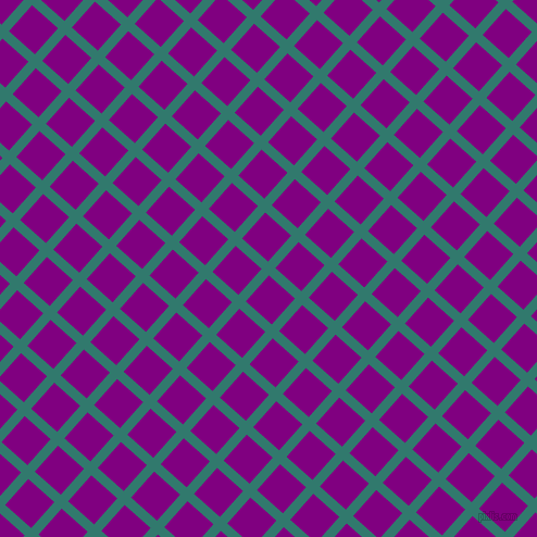 48/138 degree angle diagonal checkered chequered lines, 9 pixel line width, 32 pixel square size, Genoa and Purple plaid checkered seamless tileable