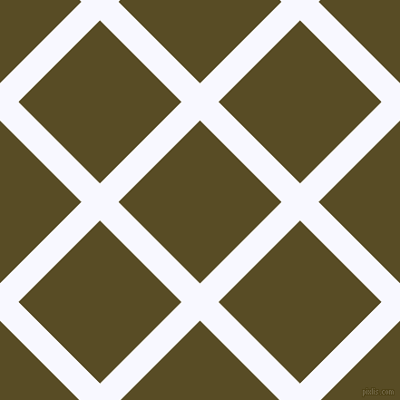 45/135 degree angle diagonal checkered chequered lines, 29 pixel line width, 127 pixel square size, Ghost White and Bronze Olive plaid checkered seamless tileable
