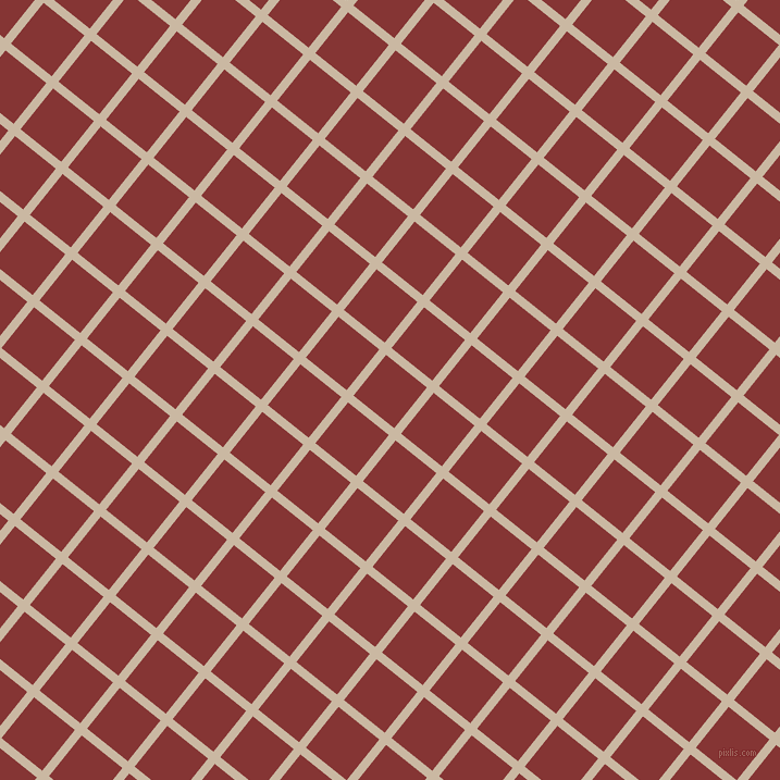 51/141 degree angle diagonal checkered chequered lines, 8 pixel line width, 48 pixel square size, Grain Brown and Tall Poppy plaid checkered seamless tileable