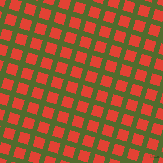 73/163 degree angle diagonal checkered chequered lines, 18 pixel line width, 37 pixel square size, Green Leaf and Cinnabar plaid checkered seamless tileable