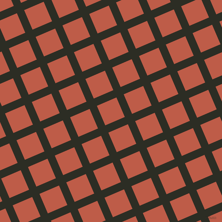 23/113 degree angle diagonal checkered chequered lines, 26 pixel lines width, 70 pixel square size, Green Waterloo and Flame Pea plaid checkered seamless tileable