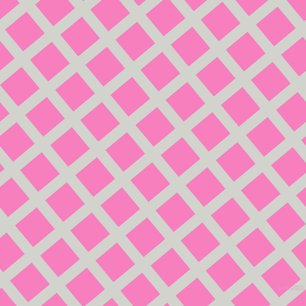 40/130 degree angle diagonal checkered chequered lines, 16 pixel lines width, 41 pixel square size, Grey Nurse and Persian Pink plaid checkered seamless tileable