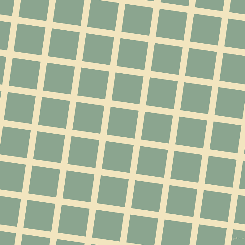 82/172 degree angle diagonal checkered chequered lines, 21 pixel line width, 91 pixel square size, Half Colonial White and Envy plaid checkered seamless tileable