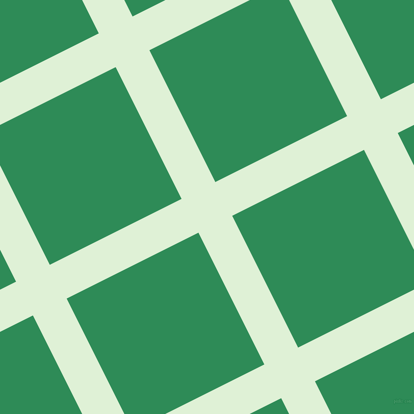 27/117 degree angle diagonal checkered chequered lines, 74 pixel line width, 289 pixel square size, Hint Of Green and Sea Green plaid checkered seamless tileable