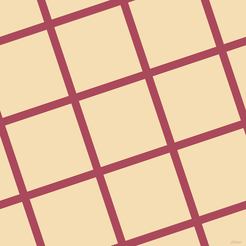 18/108 degree angle diagonal checkered chequered lines, 27 pixel line width, 236 pixel square size, Hippie Pink and Wheat plaid checkered seamless tileable