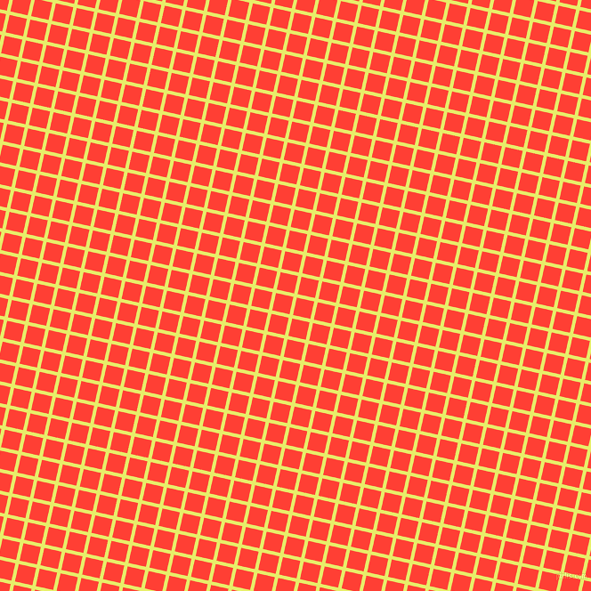 77/167 degree angle diagonal checkered chequered lines, 4 pixel lines width, 20 pixel square size, Honeysuckle and Red Orange plaid checkered seamless tileable