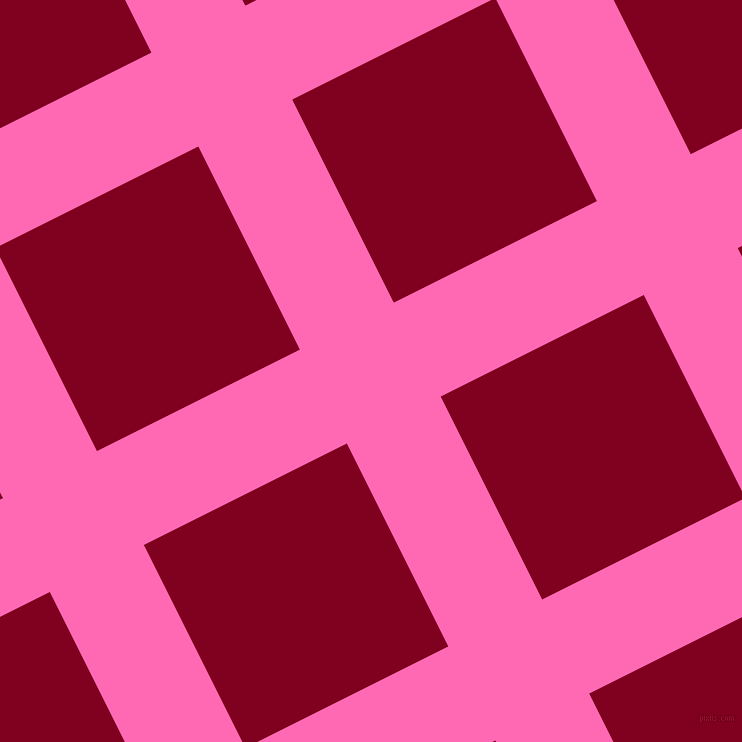 27/117 degree angle diagonal checkered chequered lines, 105 pixel lines width, 227 pixel square size, Hot Pink and Burgundy plaid checkered seamless tileable