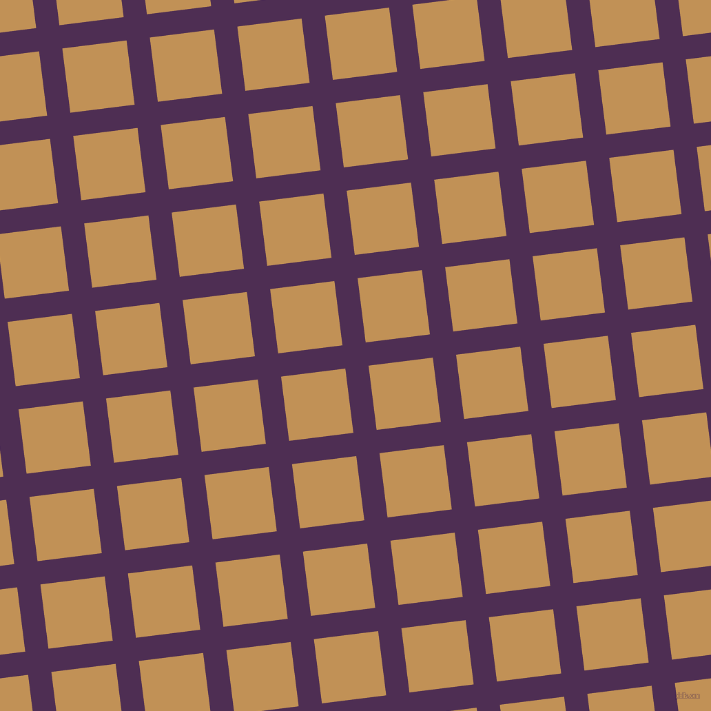 7/97 degree angle diagonal checkered chequered lines, 34 pixel line width, 94 pixel square size, Hot Purple and Twine plaid checkered seamless tileable