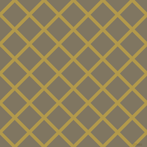 45/135 degree angle diagonal checkered chequered lines, 13 pixel lines width, 70 pixel square size, Husk and Stonewall plaid checkered seamless tileable