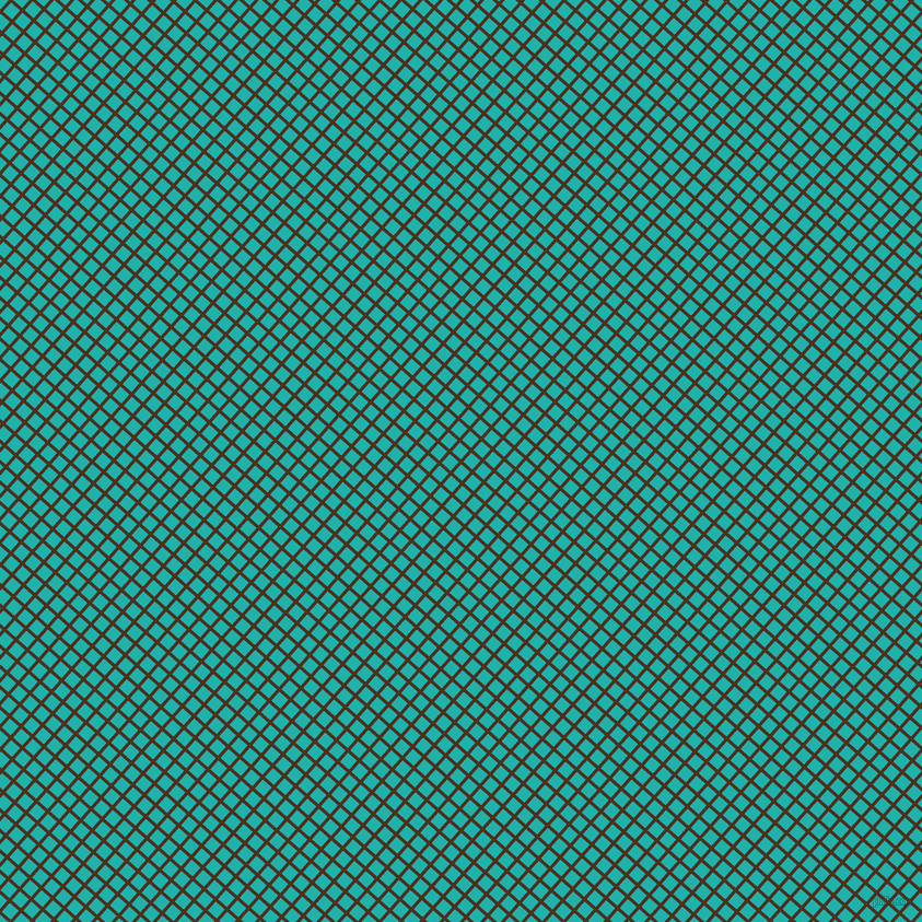 48/138 degree angle diagonal checkered chequered lines, 3 pixel lines width, 11 pixel square size, Indian Tan and Light Sea Green plaid checkered seamless tileable