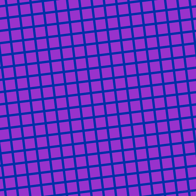 7/97 degree angle diagonal checkered chequered lines, 8 pixel lines width, 34 pixel square size, International Klein Blue and Dark Orchid plaid checkered seamless tileable
