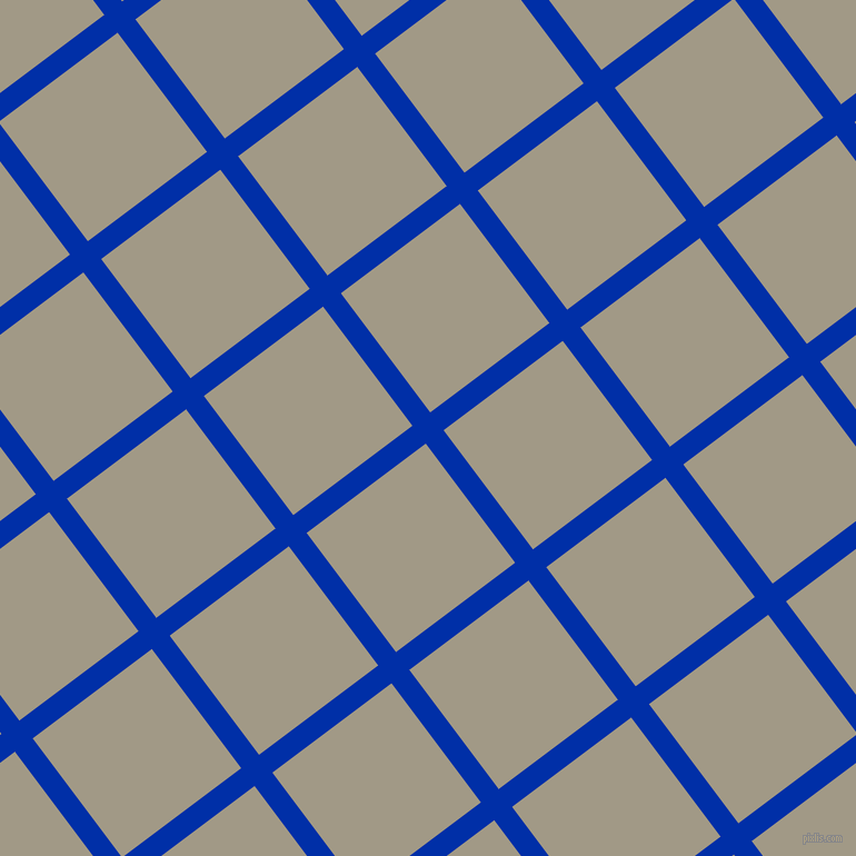 37/127 degree angle diagonal checkered chequered lines, 20 pixel lines width, 134 pixel square size, International Klein Blue and Nomad plaid checkered seamless tileable
