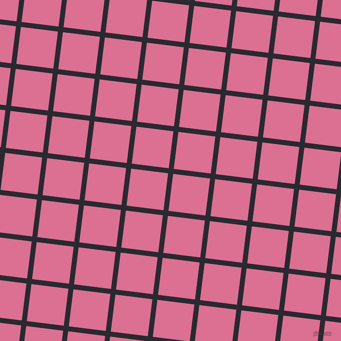 83/173 degree angle diagonal checkered chequered lines, 10 pixel lines width, 74 pixel square size, Jaguar and Pale Violet Red plaid checkered seamless tileable