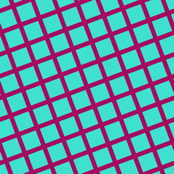 21/111 degree angle diagonal checkered chequered lines, 15 pixel line width, 54 pixel square size, Jazzberry Jam and Turquoise plaid checkered seamless tileable