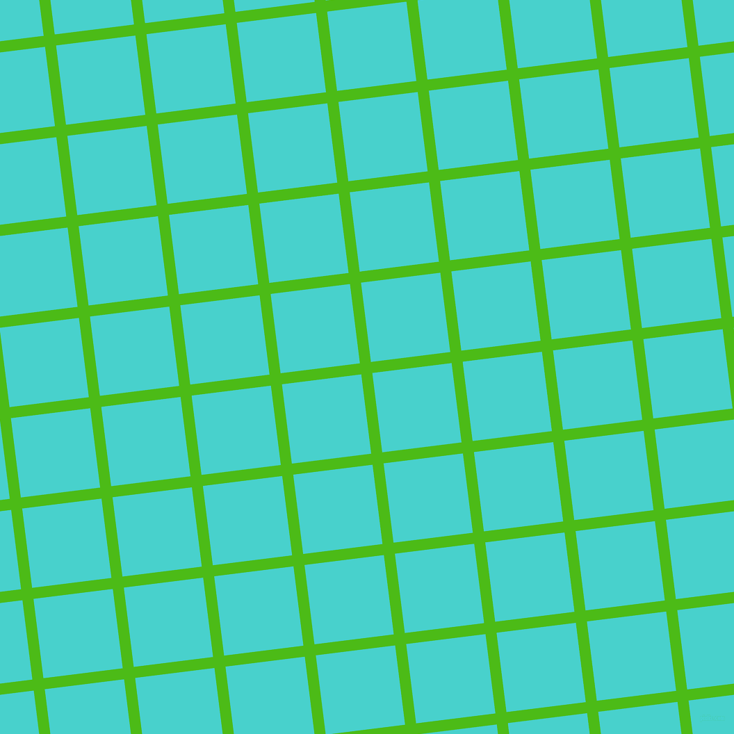 7/97 degree angle diagonal checkered chequered lines, 16 pixel lines width, 115 pixel square size, Kelly Green and Medium Turquoise plaid checkered seamless tileable