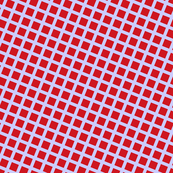 68/158 degree angle diagonal checkered chequered lines, 11 pixel line width, 26 pixel square size, Lavender Blue and Fire Engine Red plaid checkered seamless tileable