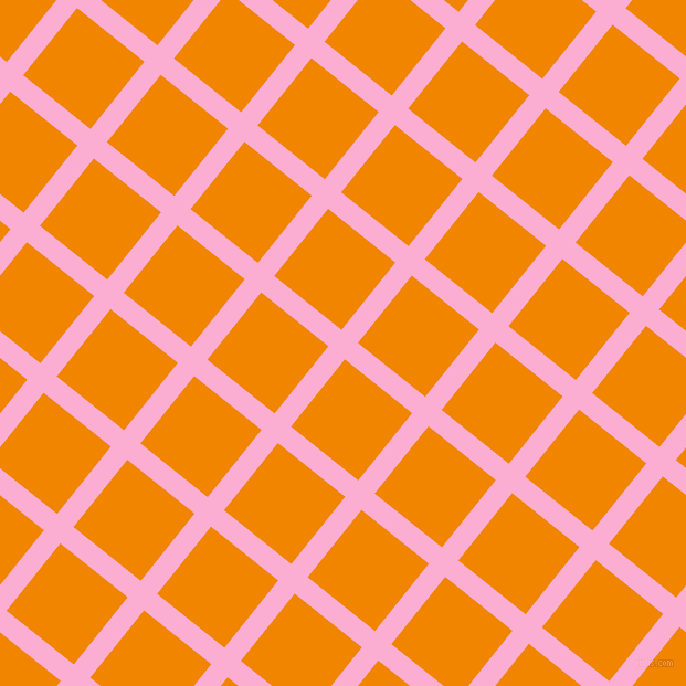 51/141 degree angle diagonal checkered chequered lines, 19 pixel line width, 78 pixel square size, Lavender Pink and Tangerine plaid checkered seamless tileable