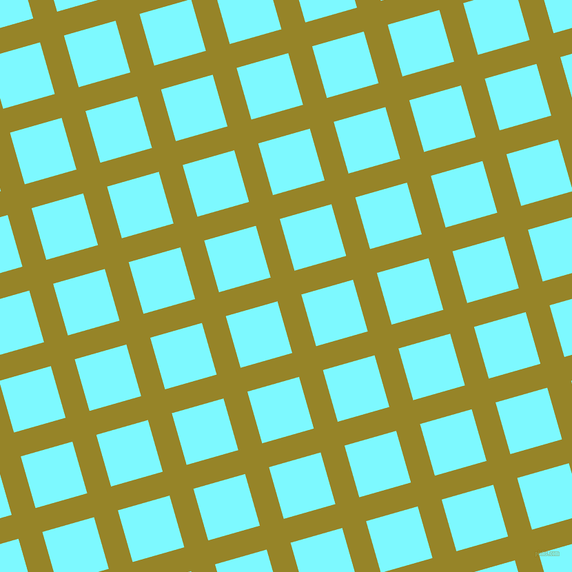 16/106 degree angle diagonal checkered chequered lines, 36 pixel line width, 78 pixel square size, Lemon Ginger and Electric Blue plaid checkered seamless tileable