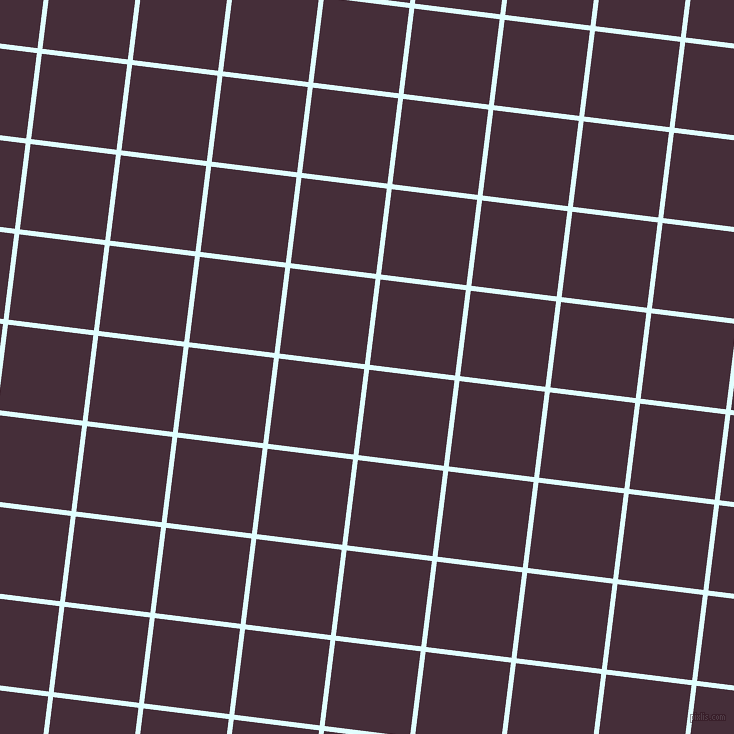 83/173 degree angle diagonal checkered chequered lines, 5 pixel line width, 86 pixel square size, Light Cyan and Barossa plaid checkered seamless tileable