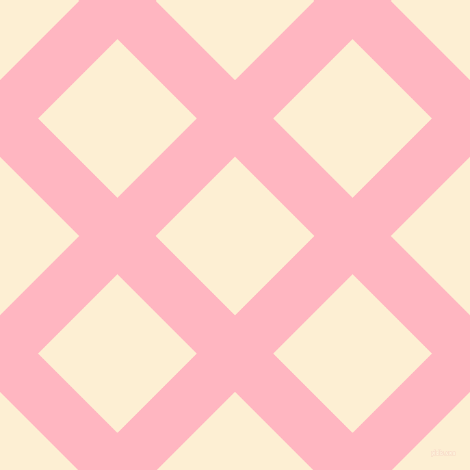 45/135 degree angle diagonal checkered chequered lines, 79 pixel line width, 164 pixel square size, Light Pink and Varden plaid checkered seamless tileable